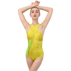 Green Yellow Leaf Texture Leaves Cross Front Low Back Swimsuit