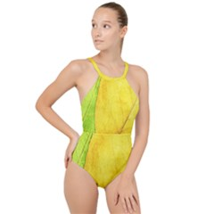 Green Yellow Leaf Texture Leaves High Neck One Piece Swimsuit