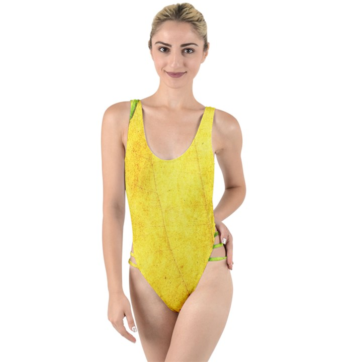 Green Yellow Leaf Texture Leaves High Leg Strappy Swimsuit