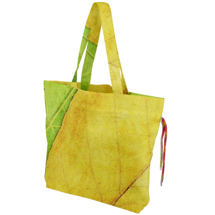 Green Yellow Leaf Texture Leaves Drawstring Tote Bag
