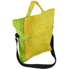 Green Yellow Leaf Texture Leaves Fold Over Handle Tote Bag by Alisyart