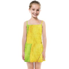 Green Yellow Leaf Texture Leaves Kids Summer Sun Dress by Alisyart