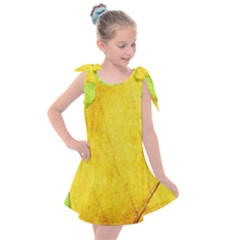 Green Yellow Leaf Texture Leaves Kids  Tie Up Tunic Dress
