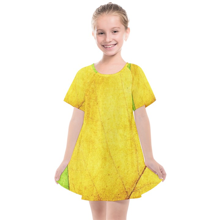 Green Yellow Leaf Texture Leaves Kids  Smock Dress