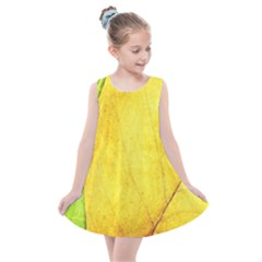 Green Yellow Leaf Texture Leaves Kids  Summer Dress by Alisyart