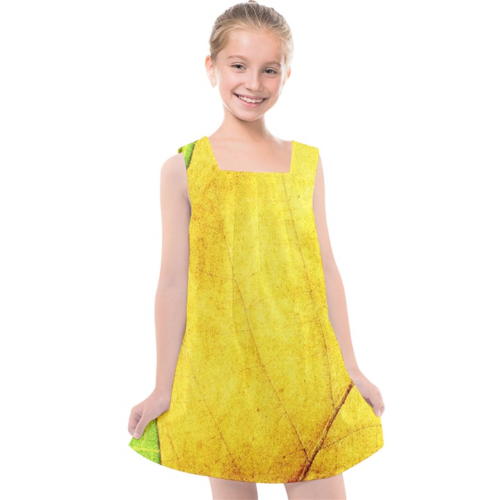 Green Yellow Leaf Texture Leaves Kids  Cross Back Dress