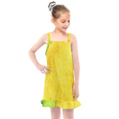 Green Yellow Leaf Texture Leaves Kids  Overall Dress