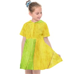 Green Yellow Leaf Texture Leaves Kids  Sailor Dress