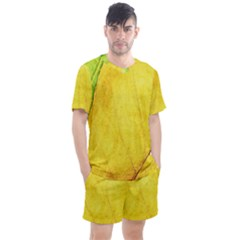 Green Yellow Leaf Texture Leaves Men s Mesh Tee And Shorts Set