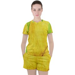 Green Yellow Leaf Texture Leaves Women s Tee And Shorts Set