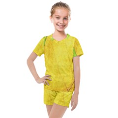 Green Yellow Leaf Texture Leaves Kids  Mesh Tee And Shorts Set