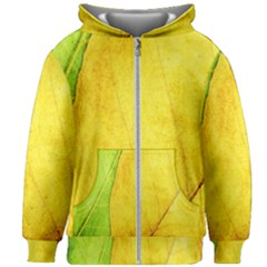 Green Yellow Leaf Texture Leaves Kids Zipper Hoodie Without Drawstring
