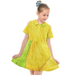 Green Yellow Leaf Texture Leaves Kids  Short Sleeve Shirt Dress