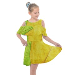 Green Yellow Leaf Texture Leaves Kids  Shoulder Cutout Chiffon Dress