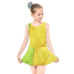 Green Yellow Leaf Texture Leaves Kids  Skater Dress Swimsuit