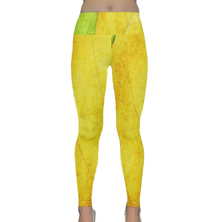 Green Yellow Leaf Texture Leaves Lightweight Velour Classic Yoga Leggings