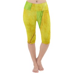 Green Yellow Leaf Texture Leaves Lightweight Velour Cropped Yoga Leggings
