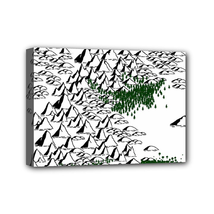 Montains Hills Green Forests Mini Canvas 7  x 5  (Stretched)