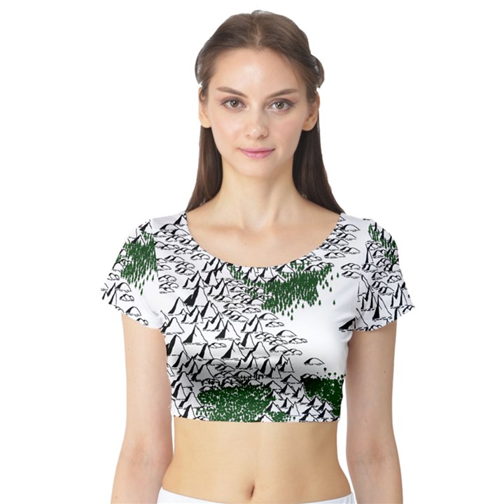 Montains Hills Green Forests Short Sleeve Crop Top