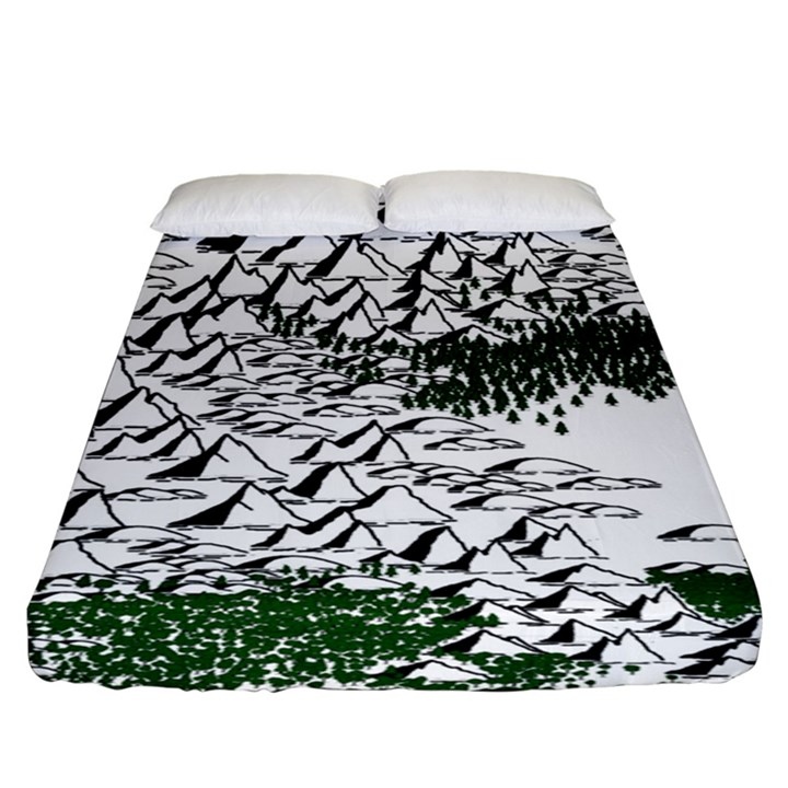 Montains Hills Green Forests Fitted Sheet (King Size)