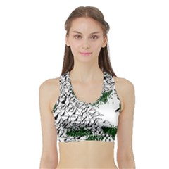 Montains Hills Green Forests Sports Bra With Border