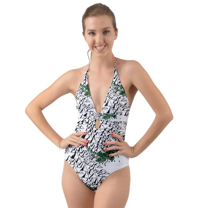Montains Hills Green Forests Halter Cut-Out One Piece Swimsuit