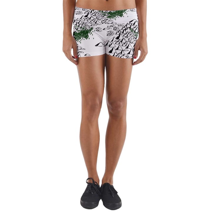 Montains Hills Green Forests Yoga Shorts