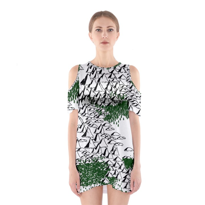 Montains Hills Green Forests Shoulder Cutout One Piece Dress