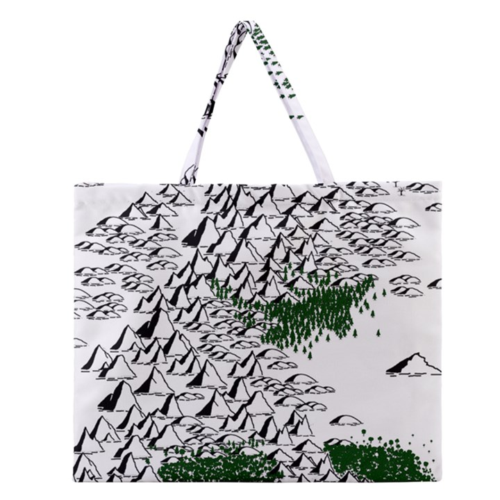 Montains Hills Green Forests Zipper Large Tote Bag