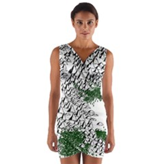 Montains Hills Green Forests Wrap Front Bodycon Dress