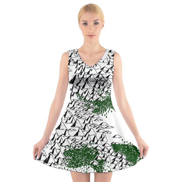 Montains Hills Green Forests V-Neck Sleeveless Dress