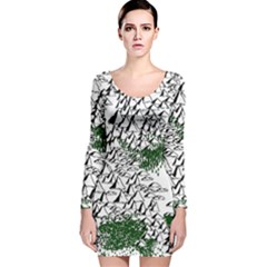 Montains Hills Green Forests Long Sleeve Velvet Bodycon Dress