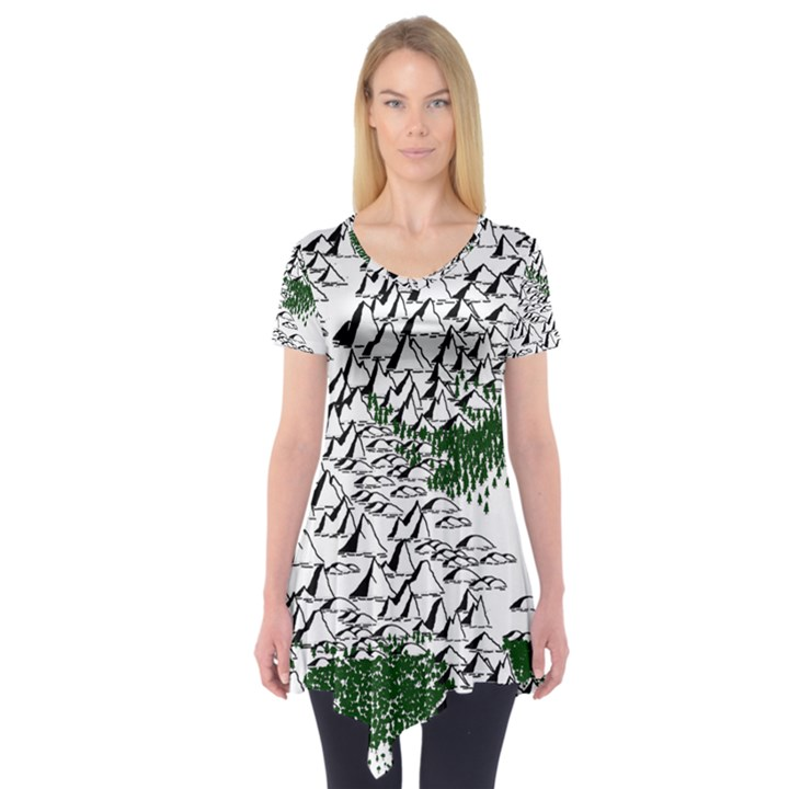 Montains Hills Green Forests Short Sleeve Tunic