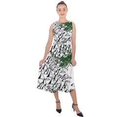 Montains Hills Green Forests Midi Tie Back Chiffon Dress