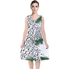 Montains Hills Green Forests V Neck Midi Sleeveless Dress