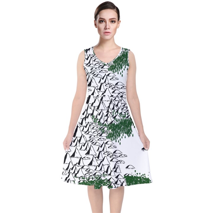Montains Hills Green Forests V-Neck Midi Sleeveless Dress