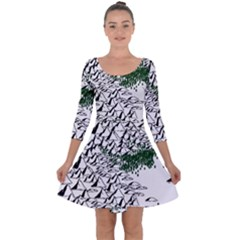 Montains Hills Green Forests Quarter Sleeve Skater Dress