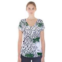 Montains Hills Green Forests Short Sleeve Front Detail Top by Alisyart