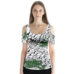 Montains Hills Green Forests Butterfly Sleeve Cutout Tee
