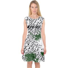 Montains Hills Green Forests Capsleeve Midi Dress
