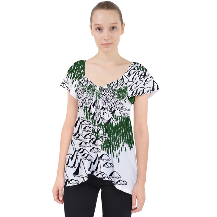Montains Hills Green Forests Lace Front Dolly Top