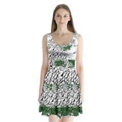 Montains Hills Green Forests Split Back Mini Dress