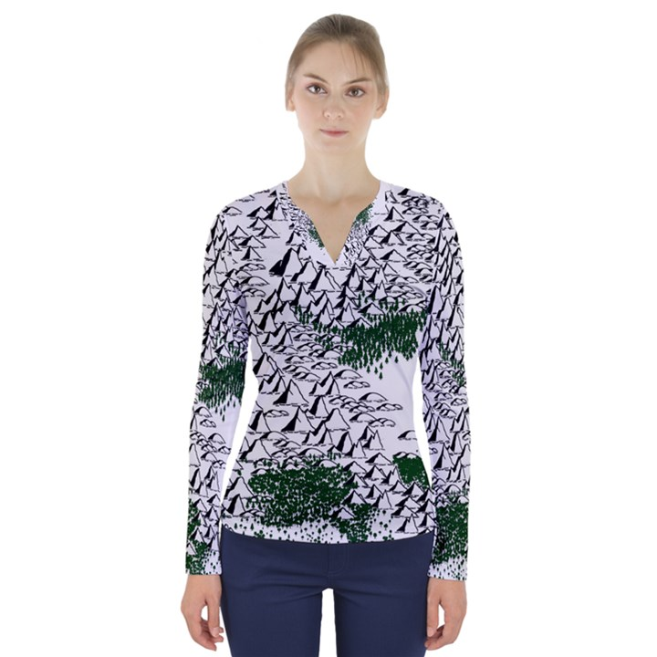 Montains Hills Green Forests V-Neck Long Sleeve Top