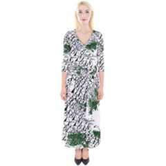 Montains Hills Green Forests Quarter Sleeve Wrap Maxi Dress by Alisyart