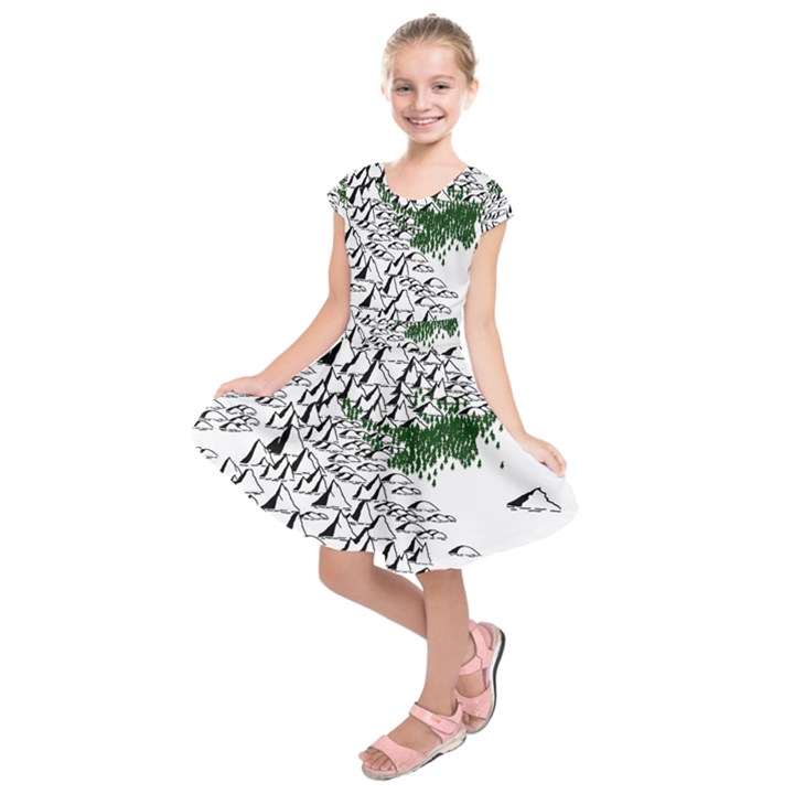 Montains Hills Green Forests Kids  Short Sleeve Dress