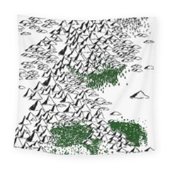 Montains Hills Green Forests Square Tapestry (large)
