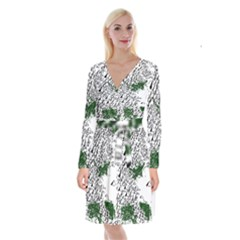 Montains Hills Green Forests Long Sleeve Velvet Front Wrap Dress