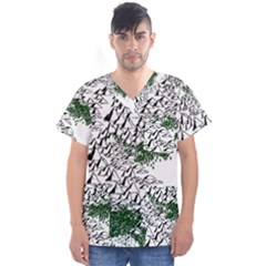 Montains Hills Green Forests Men s V Neck Scrub Top