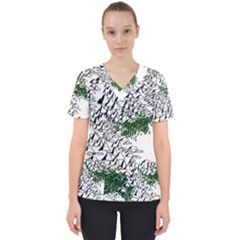 Montains Hills Green Forests Women s V Neck Scrub Top