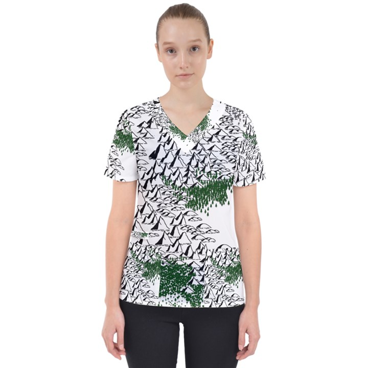 Montains Hills Green Forests Women s V-Neck Scrub Top